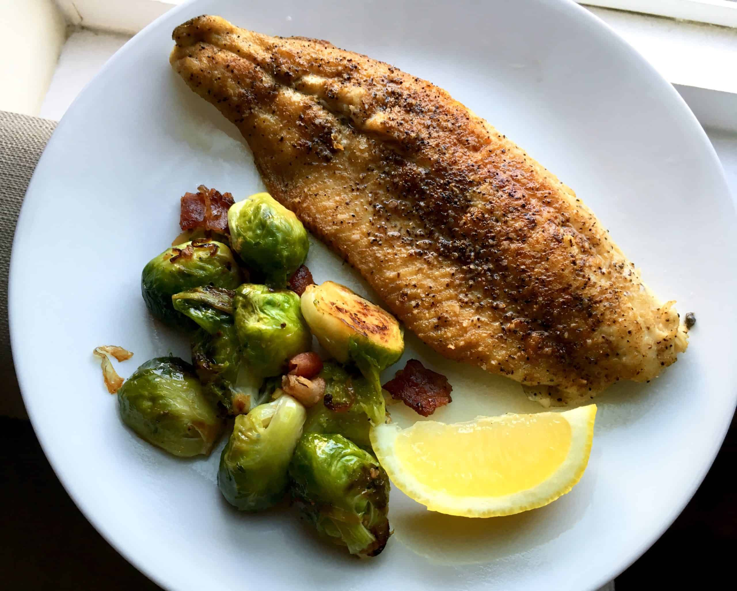 Rainbow trout and brussels sprouts