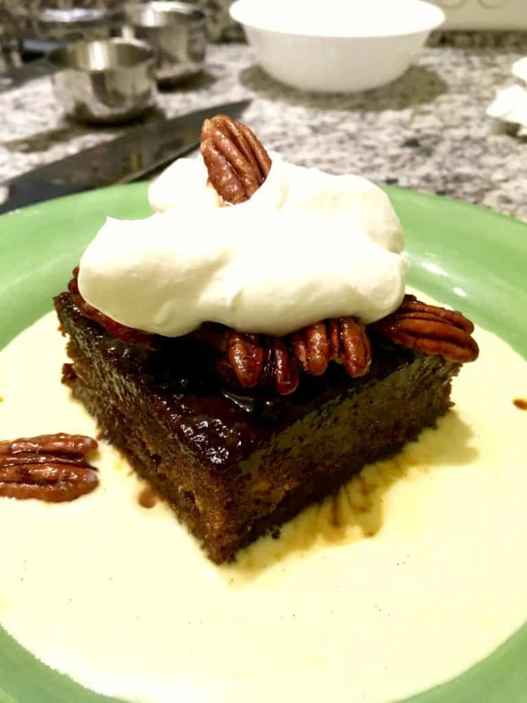 Texas whiskey cake in bourbon and toffee sauce