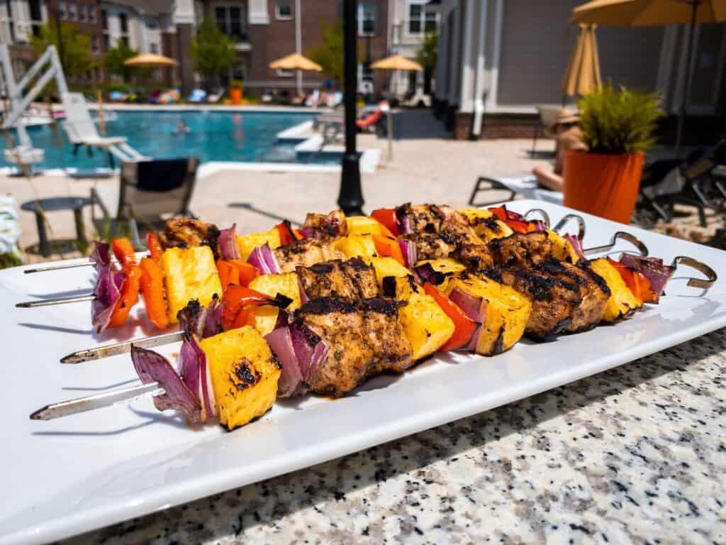 Grilled Caribbean Chicken Kebab Pineapple Pool