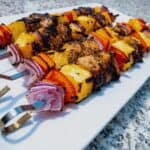 Grilled Caribbean Chicken Kebab Pineapple Table