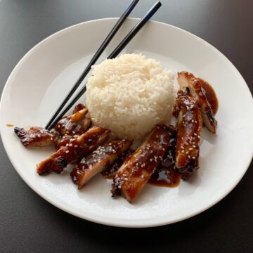 Plate of chicken teriyaki and rice