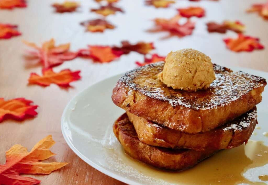 Pumpkin spice brioche French toast