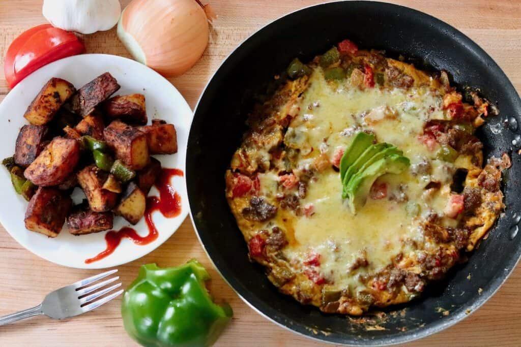 curried italian sausage frittata breakfast potatoes
