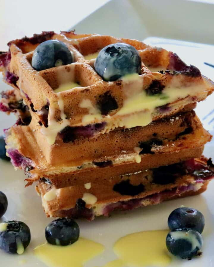 Blueberry waffle quarters with lemon curd