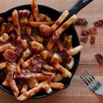 Smokey Maple Bacon Poutine in Cast Iron Skillet