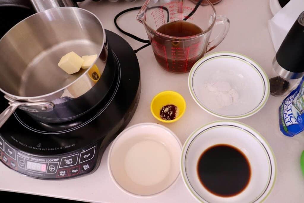 Prepping Smokey Maple Bacon Poutine Gravy Ingredients