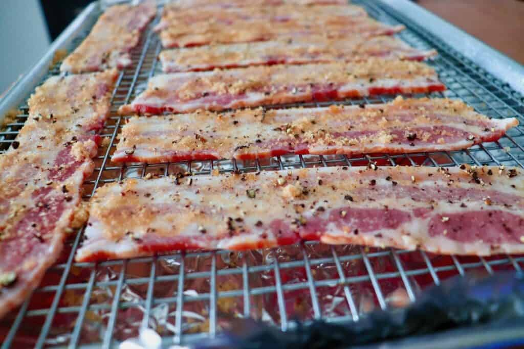 Prepping Smoked Brown Sugar Maple Bacon