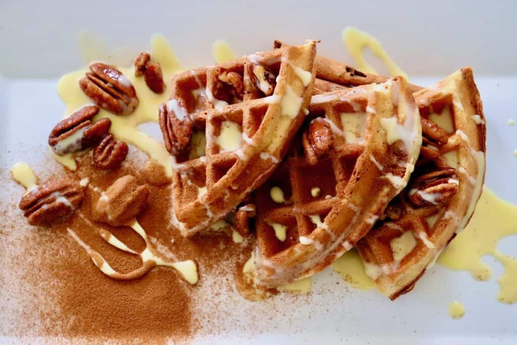 pecan waffle sections with cinnamon créme anglaise sauce