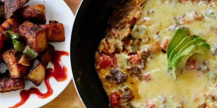 curried italian sausage frittata and indian spiced breakfast potatoes