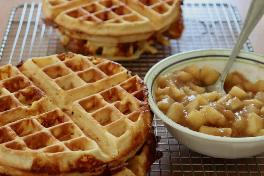 cheddar waffles with compote on wire rack