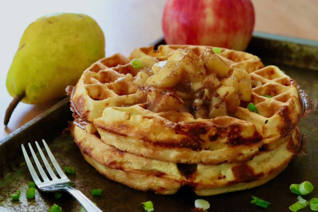 cheddar waffles stack with compote