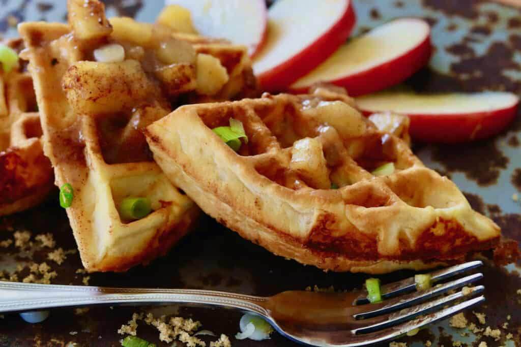 cheddar waffles quartered