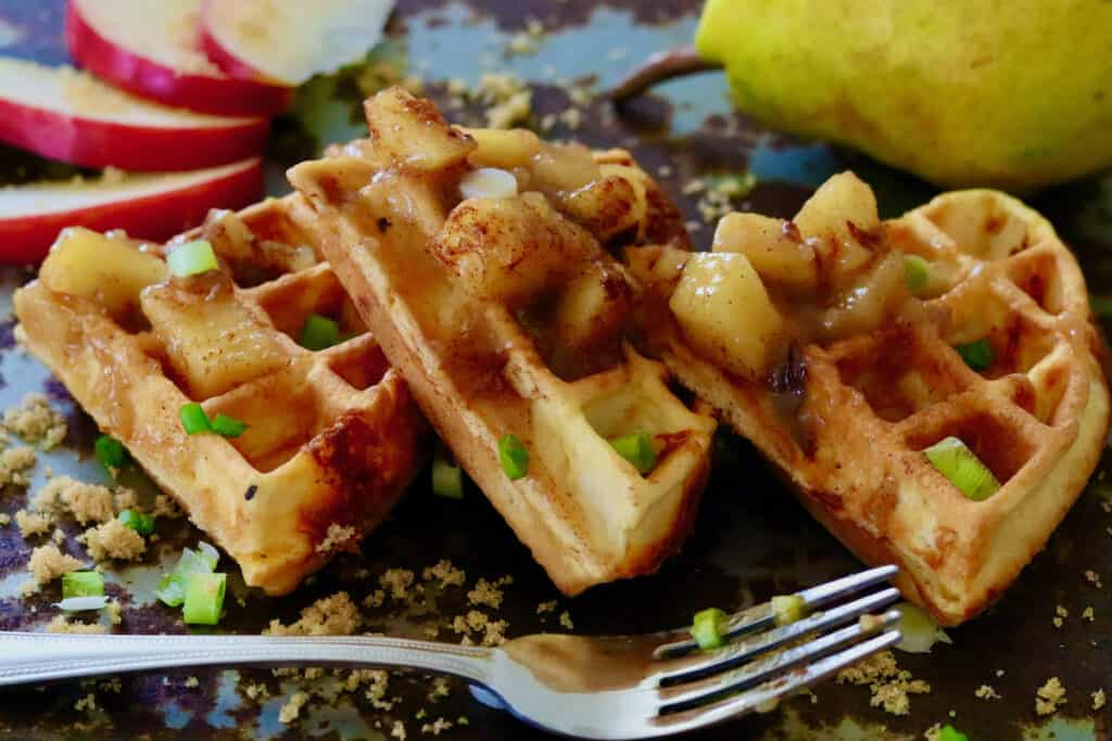 Waffle sections with apple-pear compote