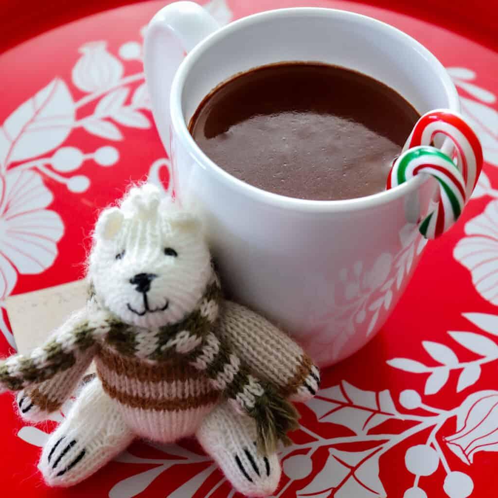 French hot chocolate and a mini polar bear ornament