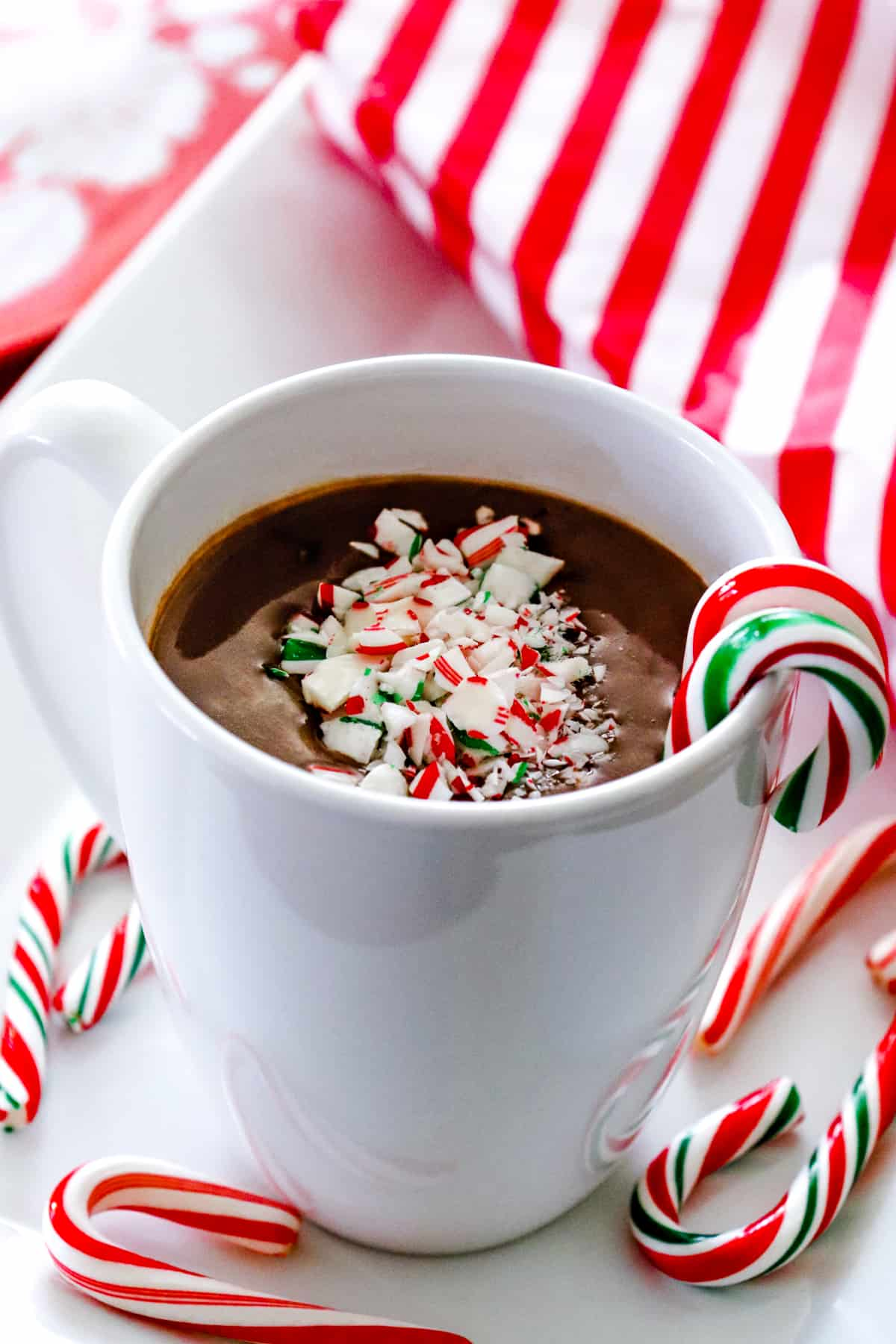 Peppermint French hot chocolate with candy canes