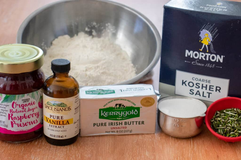 Ingredients for rosemary shortbread thumbprint cookies