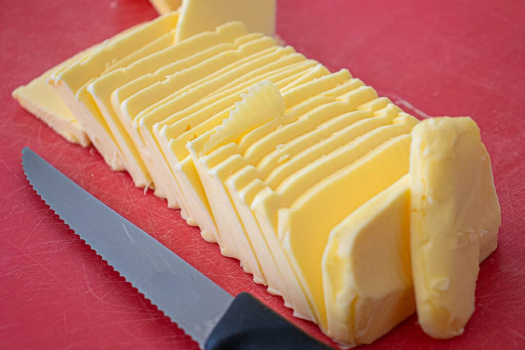 Thinly sliced butter for shortbread cookies