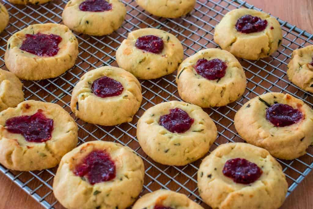 Finished rosemary raspberry shortbread cookies