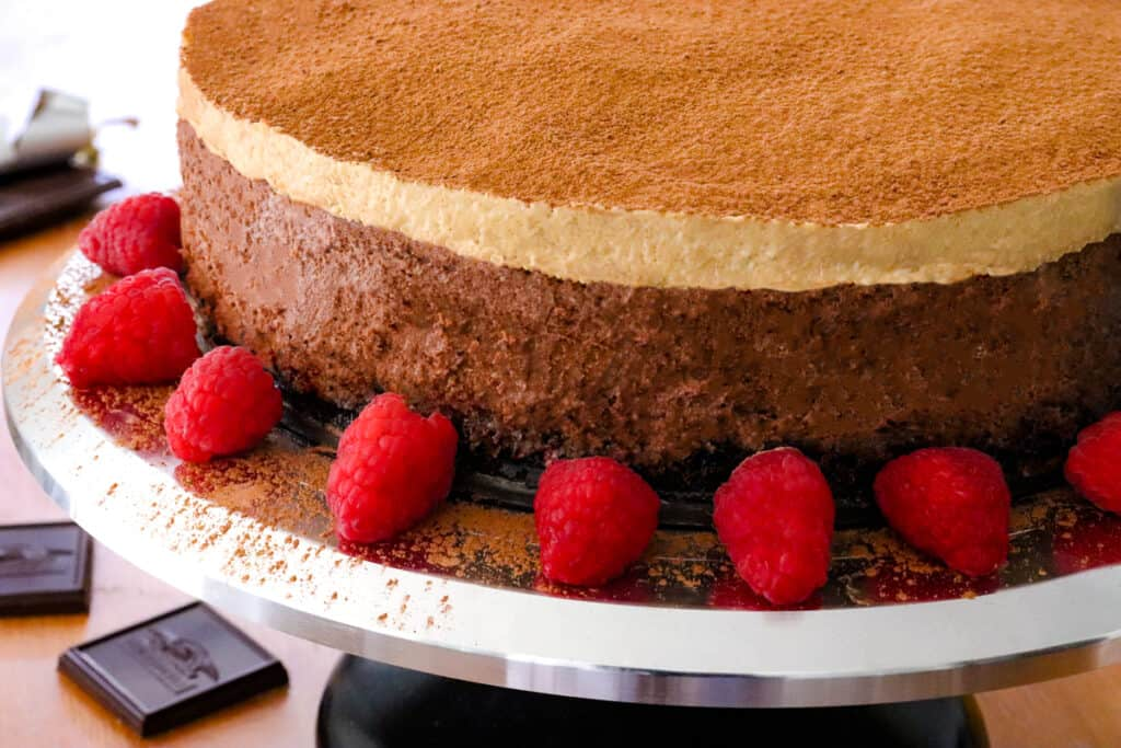 Double espresso chocolate cheesecake on a cake stand