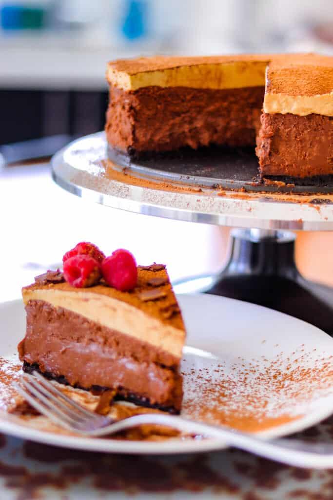 Slice of double espresso chocolate cheesecake