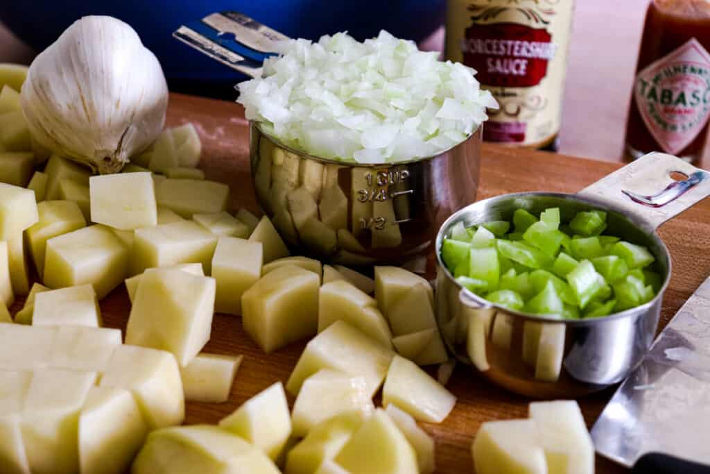 Chopped vegetables for clam chowder
