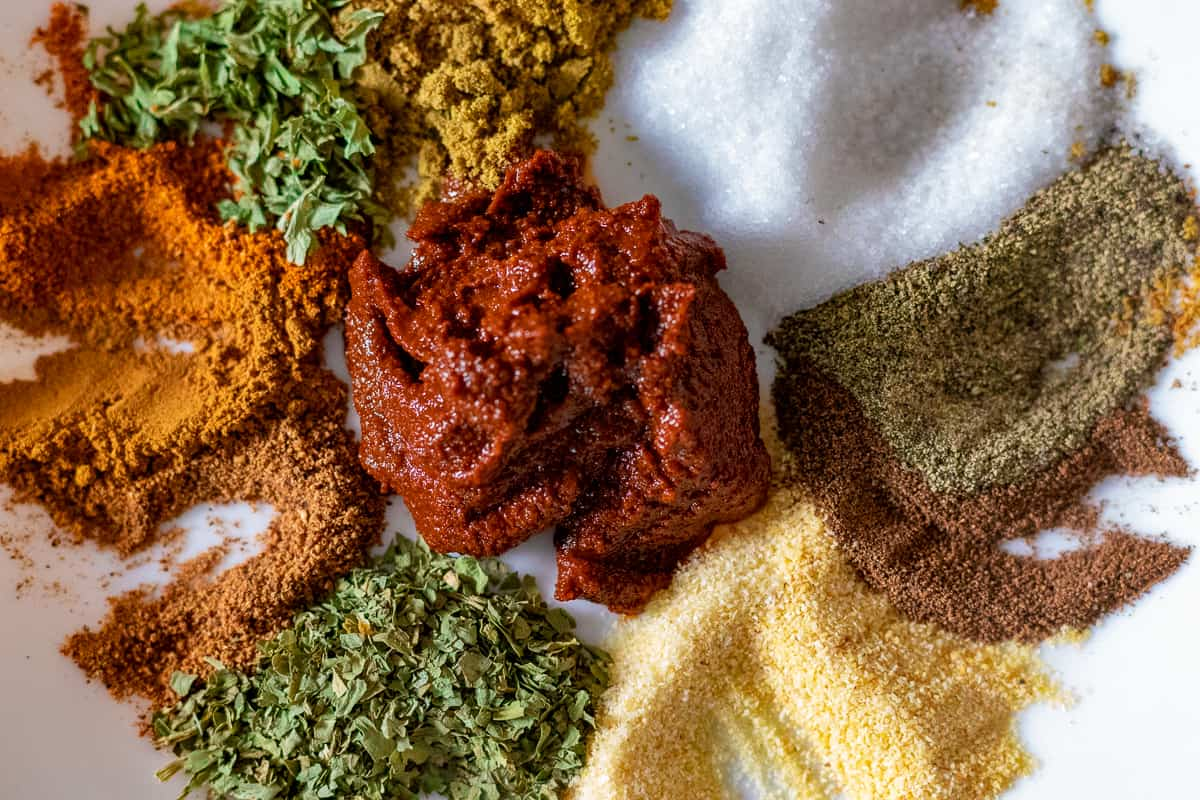 Spices and harissa for meatballs