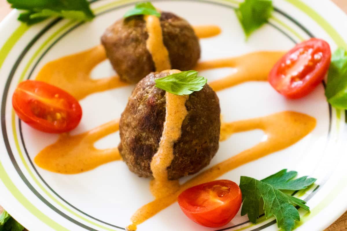Meatballs with harissa yogurt dressing