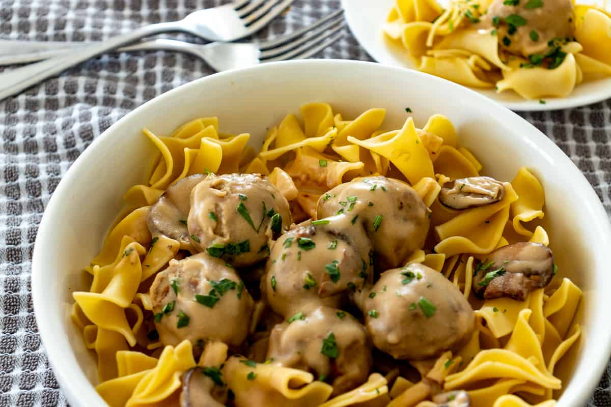 Swedish meatballs and noodles in a bowl