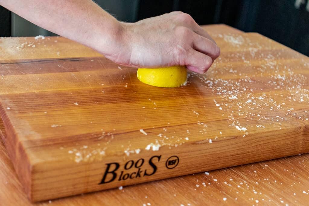 Removing stains using lemon and kosher salt