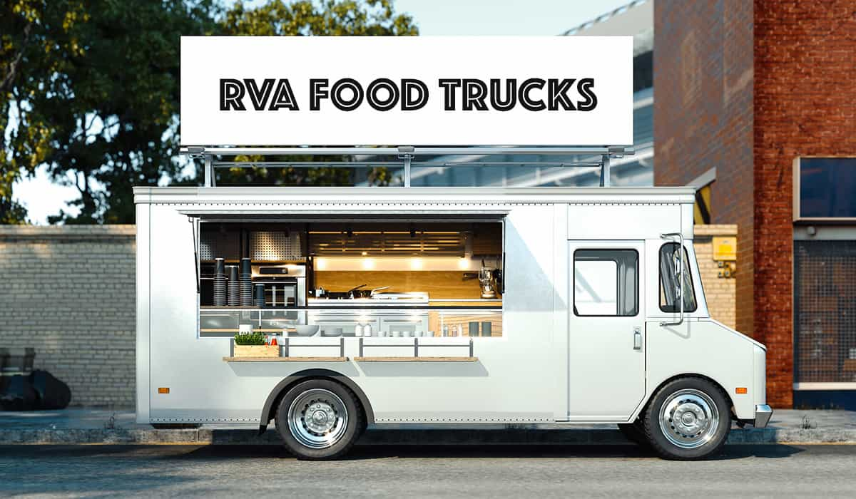 """Generic food truck with sign that says """"RVA Food Trucks"""""""