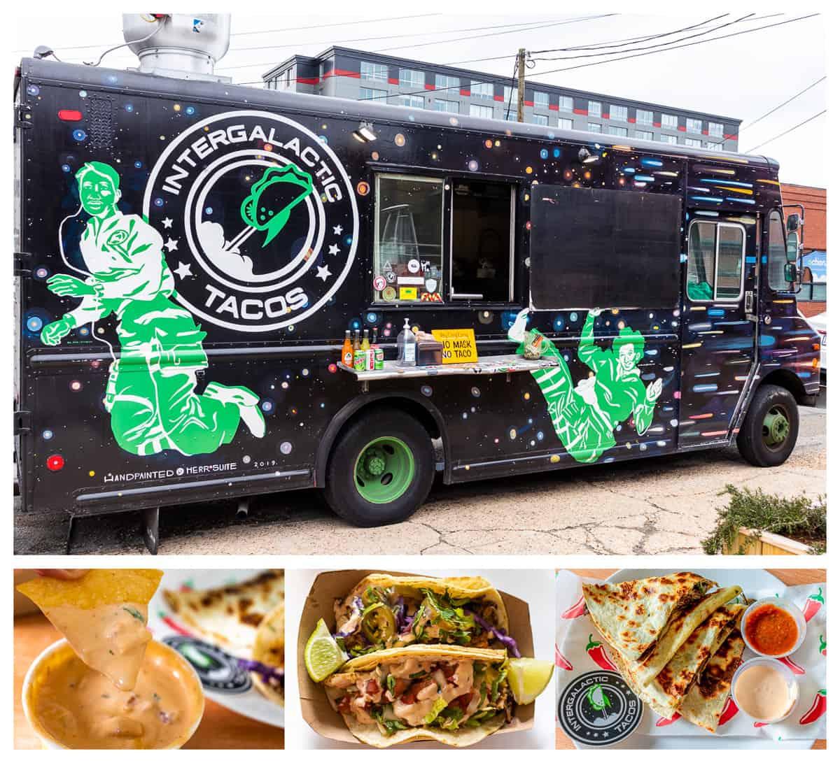 Intergalactic Taco truck and food items