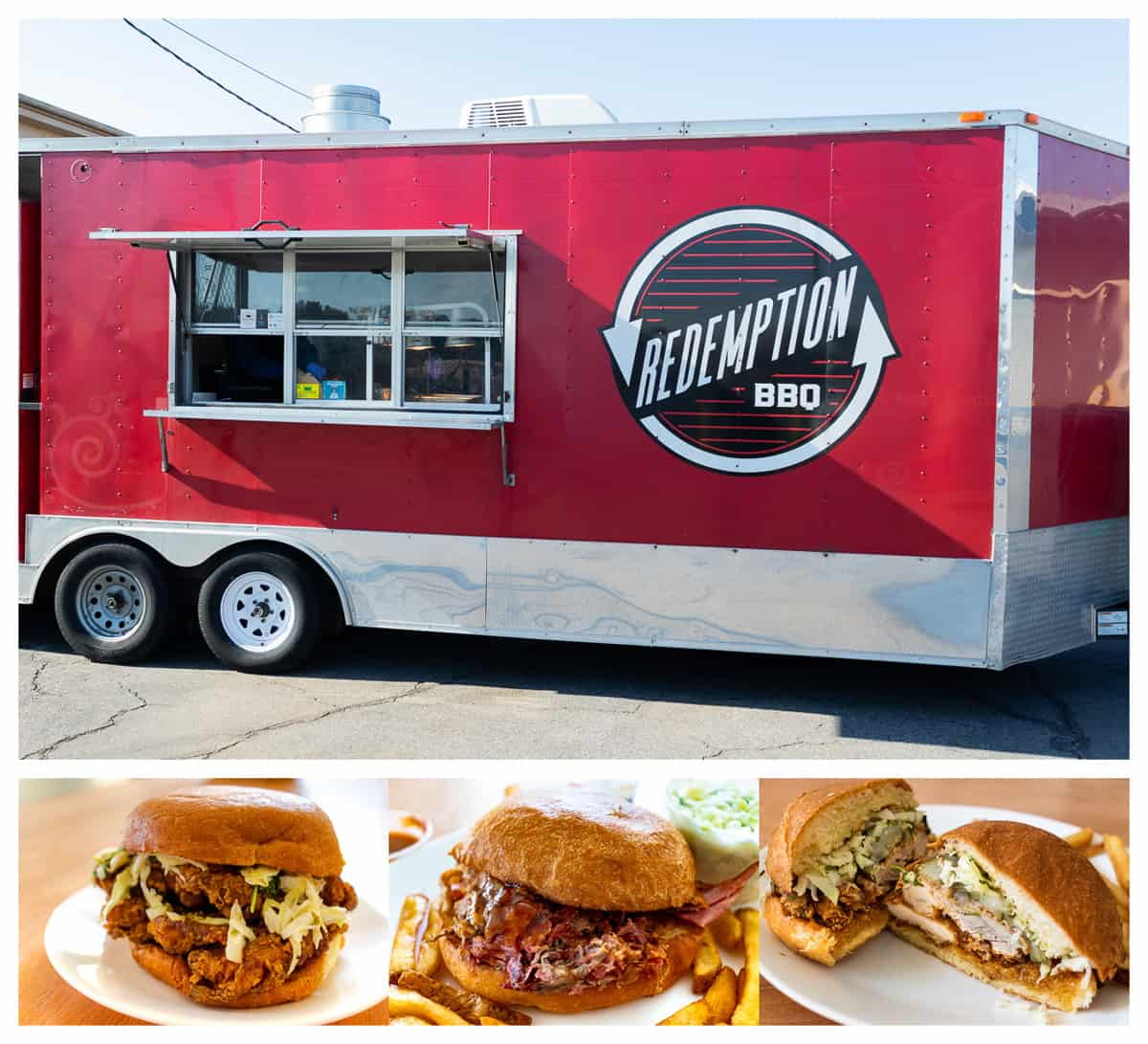 Redemption BBQ food truck and sandwiches