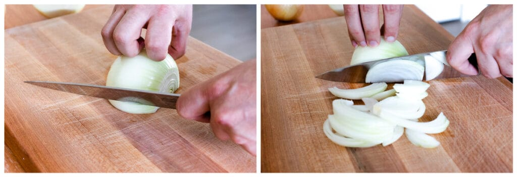 Slicing the onions for caramelized onions