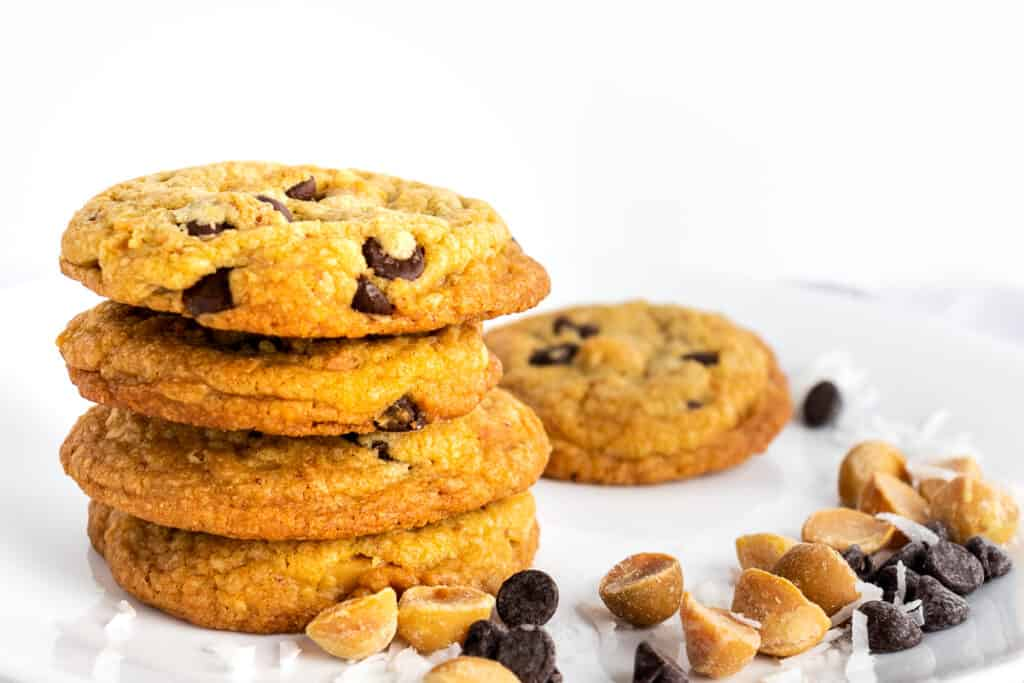 Brown butter chocolate chip cookies stacked