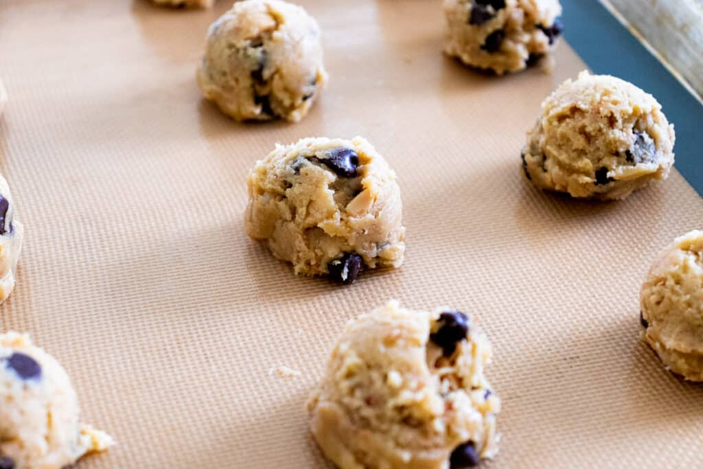Brown butter chocolate chip cookies before baking