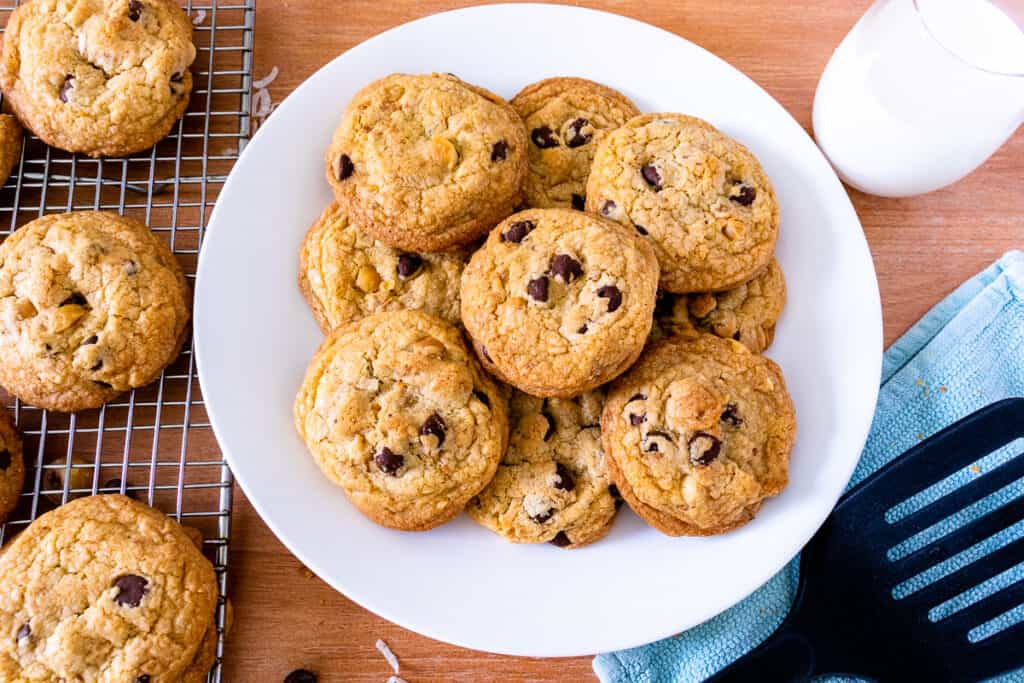 Plate of brown butter chocolate chip cookies