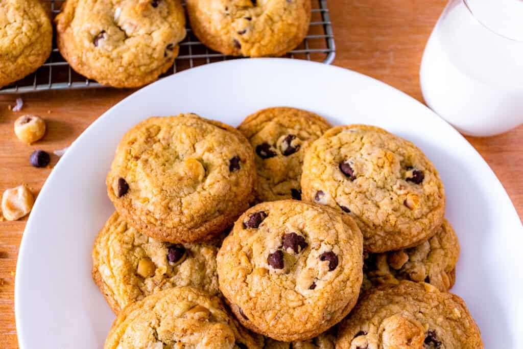Brown butter chocolate chip cookies on a plate