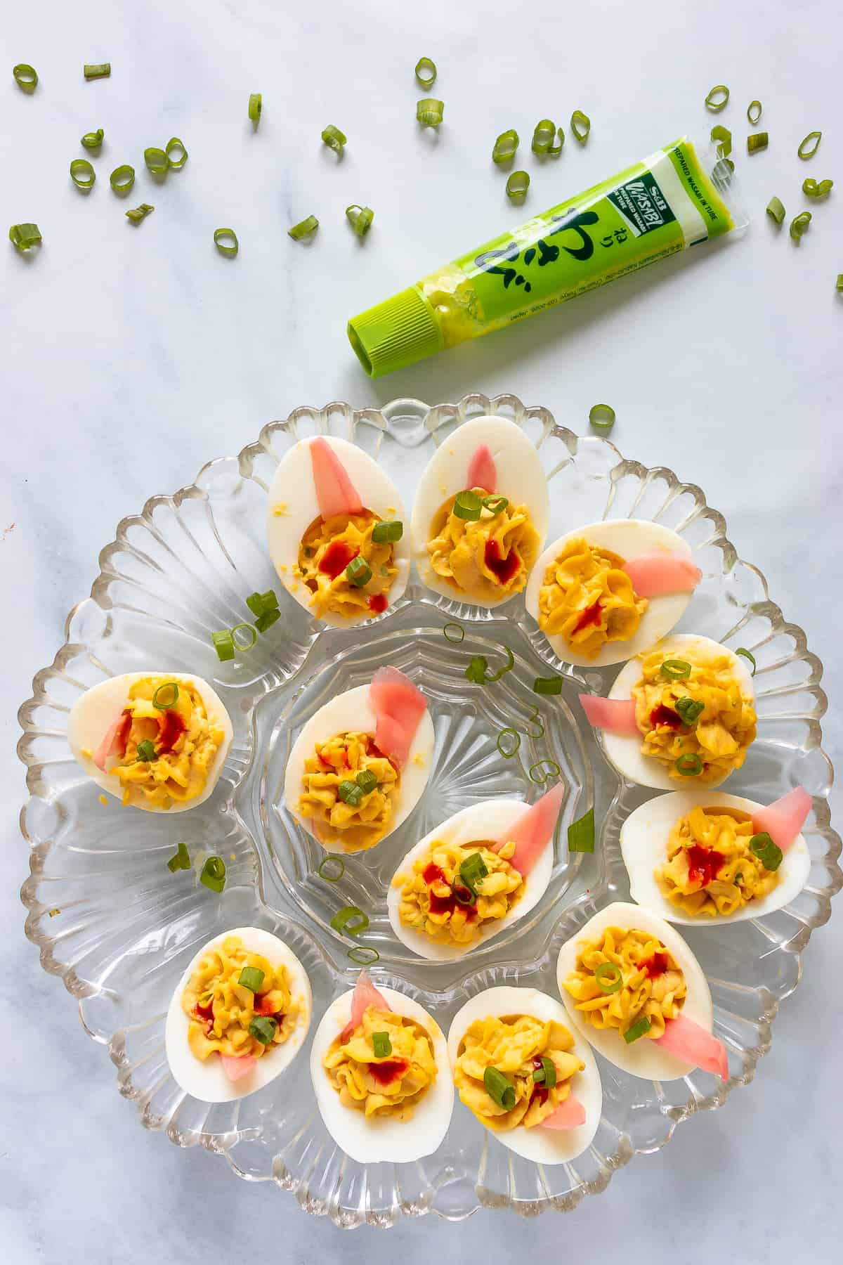 Finished plate of wasabi deviled eggs