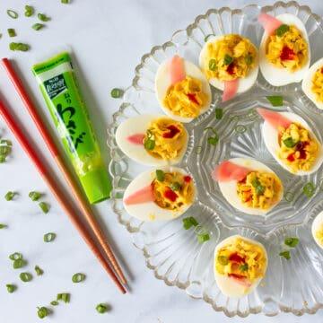 Wasabi Deviled Eggs on platter