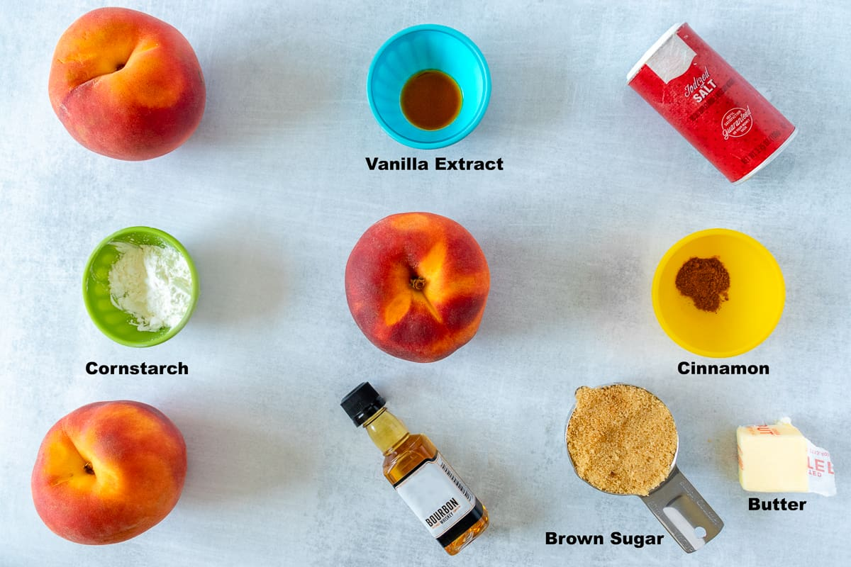 Ingredients for peach bourbon compote